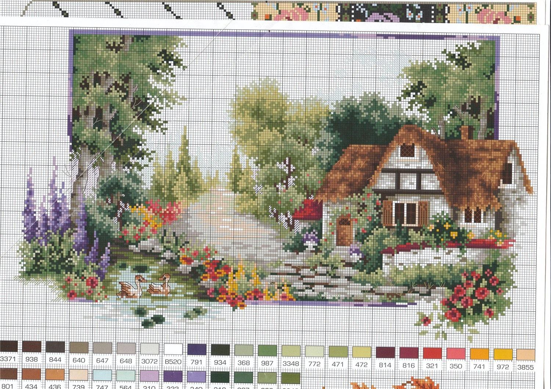 Схемы вышивки пейзажей с домиками