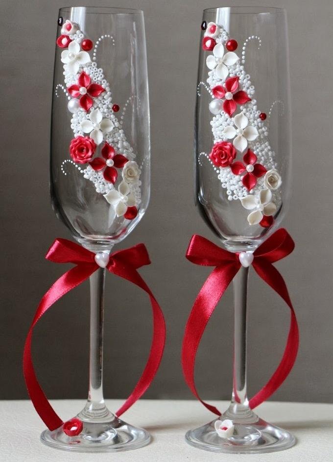 Свадебные бокалы своими руками пошагово фото