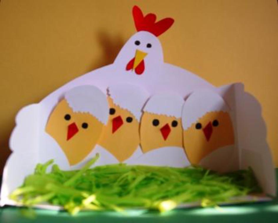 Поделка курочка с цыпленком