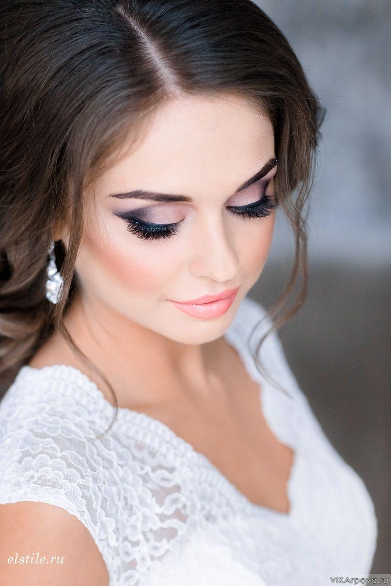 Макияж для карих глаз и темных волос свадебный