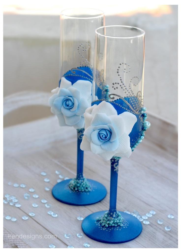 Свадебные бокалы синие с белым своими руками