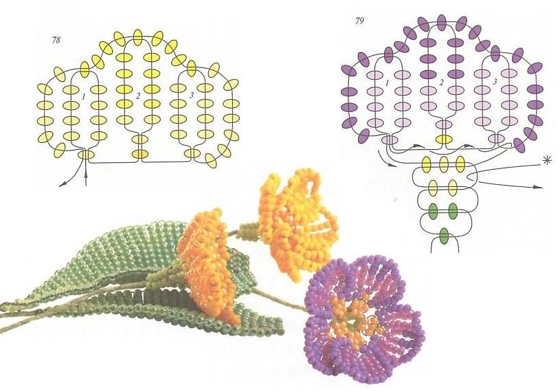 Плетение из бисера цветов схемы