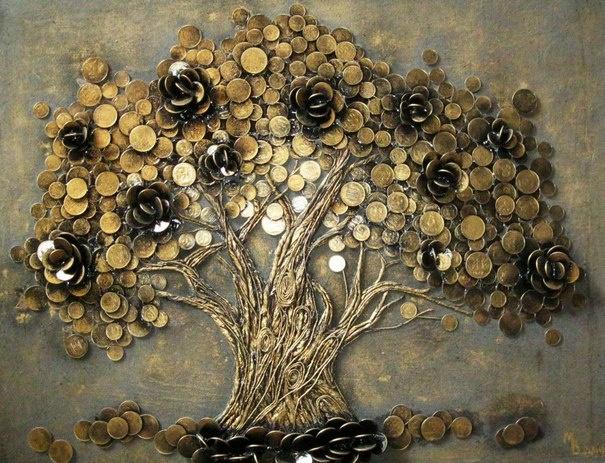 Картина дерево с монетками своими руками