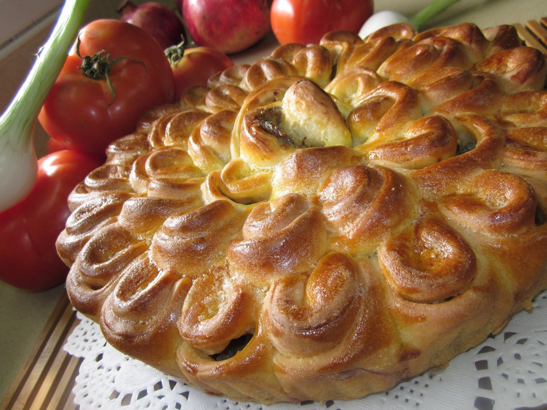Рецепты пирог хризантема рецепт с