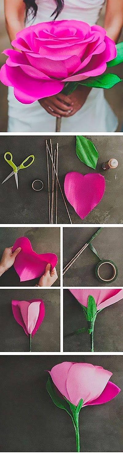 Как сделать бумажные цветы своими руками роза