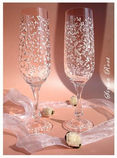Расписать бокалы свадебные своими руками