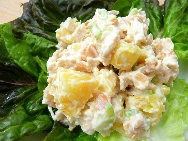 Салат из курицы и ананаса пошаговый рецепт с
