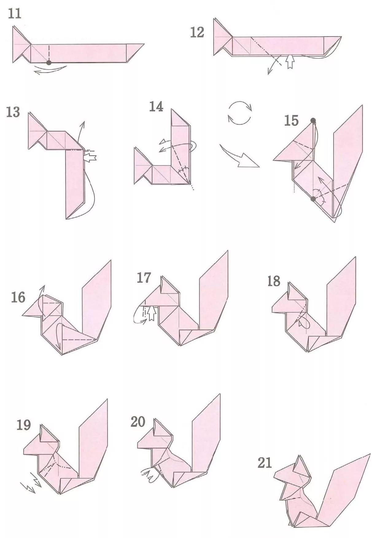 Как сделать оригами из цветной бумаги животные
