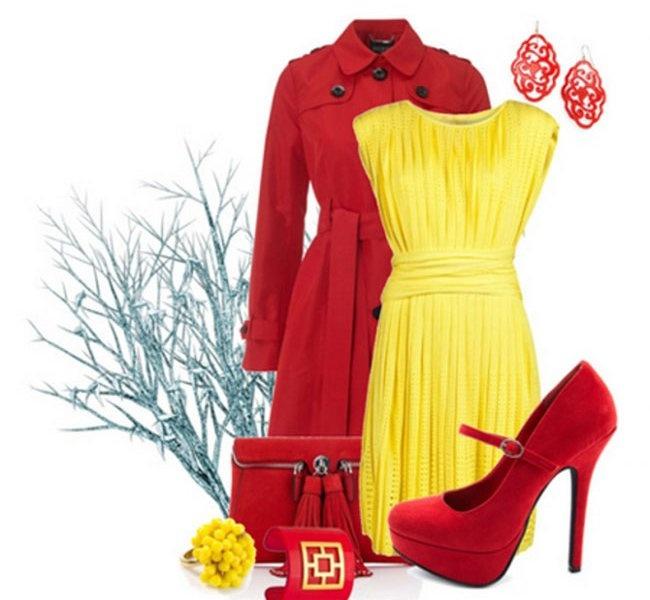 Сочетание цветов в одежде красные туфли