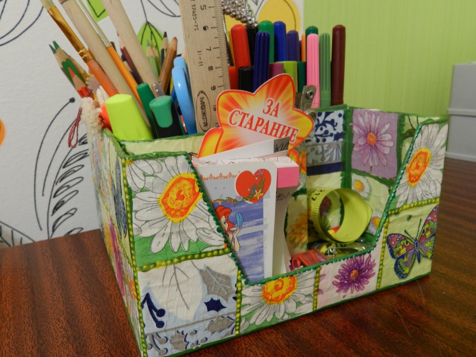 Коробка для карандашей из картона своими руками