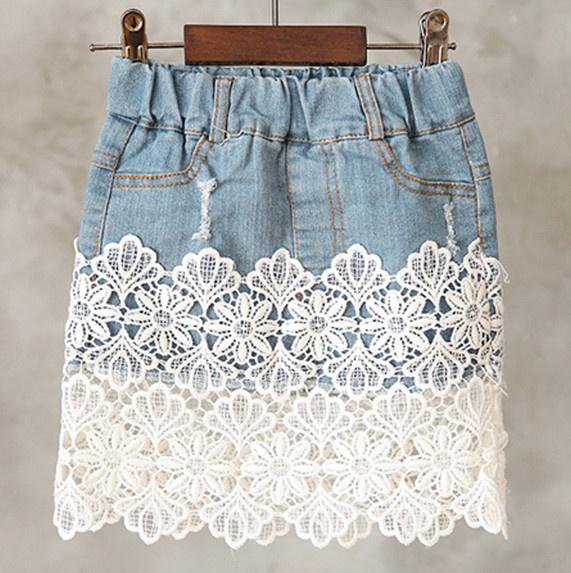 Юбка джинсовая с кружевом своими руками