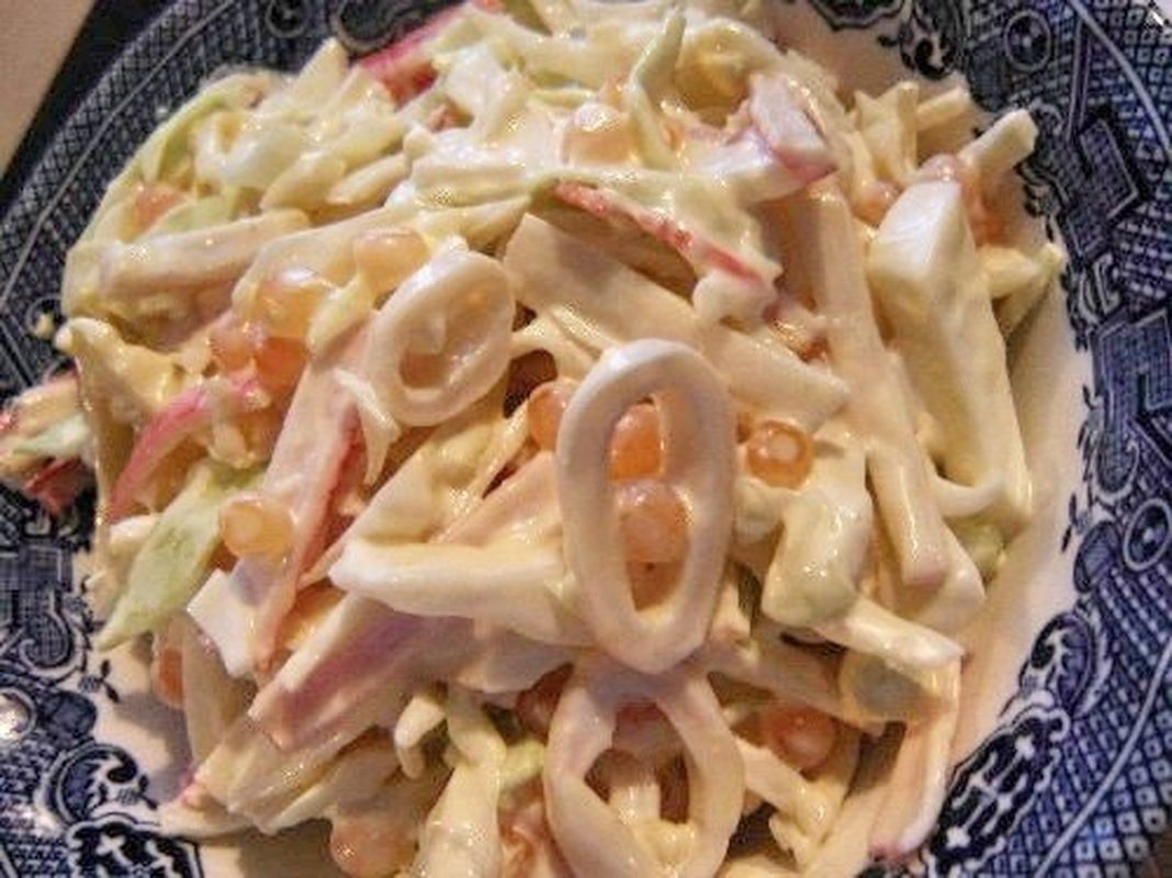 Салат с кальмаров рецепт с