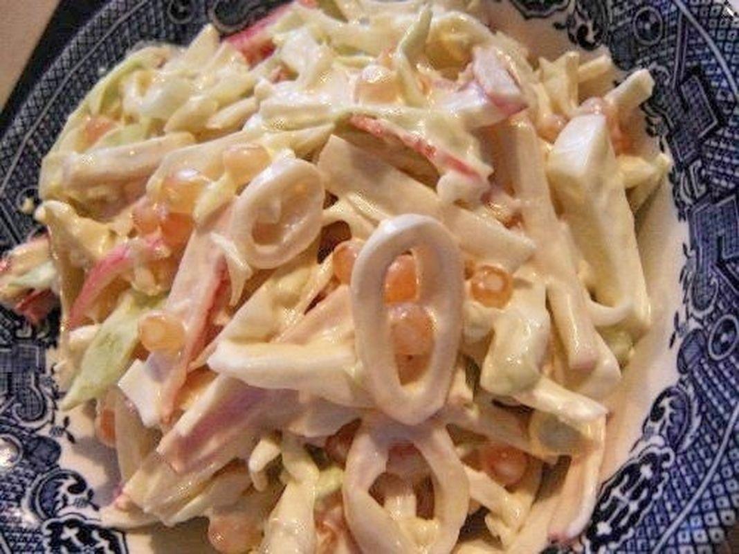 Салаты с кальмары рецепты с