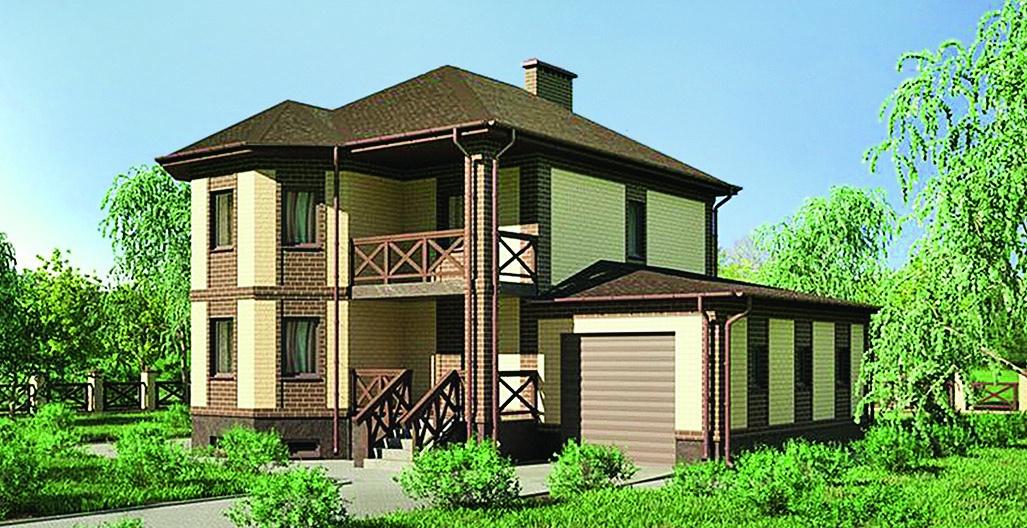 Купить проект двухэтажного дома с цокольным этажом и эркером.