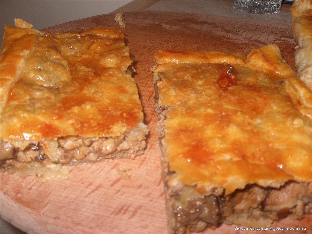 Пирог с грибами и фаршем в духовке пошаговый рецепт с фото