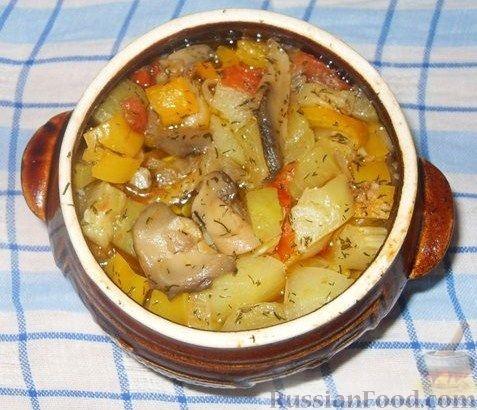 Мясо в горшочках с картошкой в духовке пошаговый рецепт с с грибами