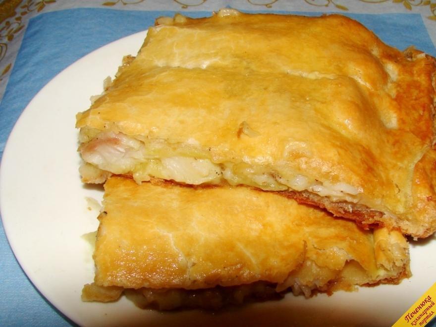 Пирог из рыбного фарша из слоеного теста пошаговый рецепт с