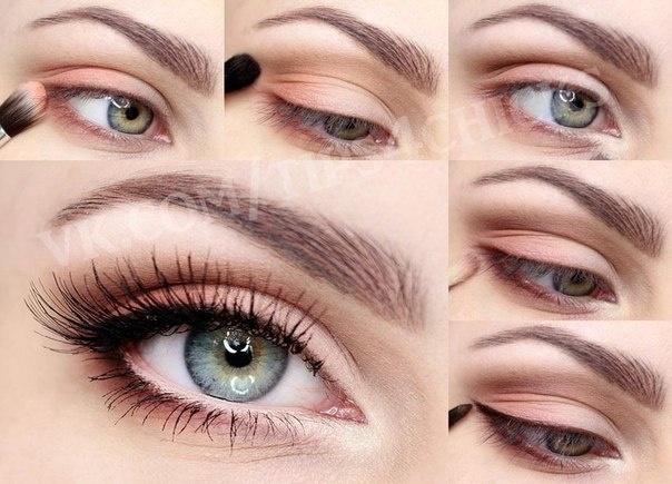 Фото повседневного макияжа для зеленых глаз пошагово