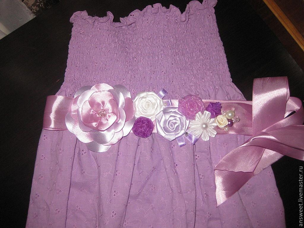 Пояс из атласной ленты своими руками для платья