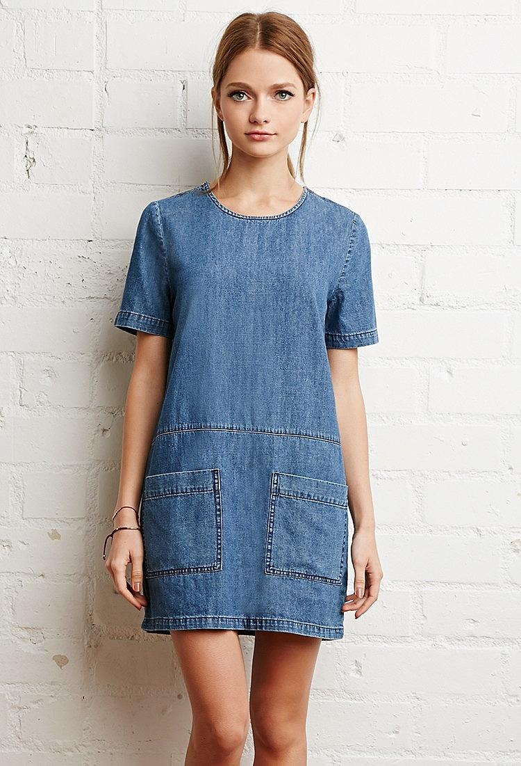 Джинсовое платье прямого покроя