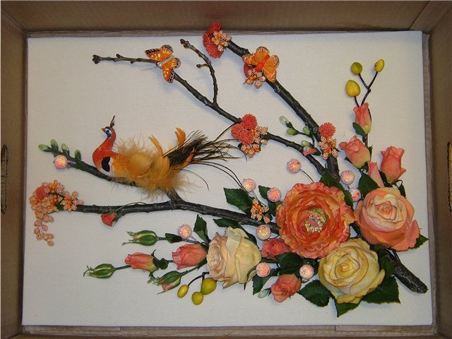 Панно на стену из цветов из