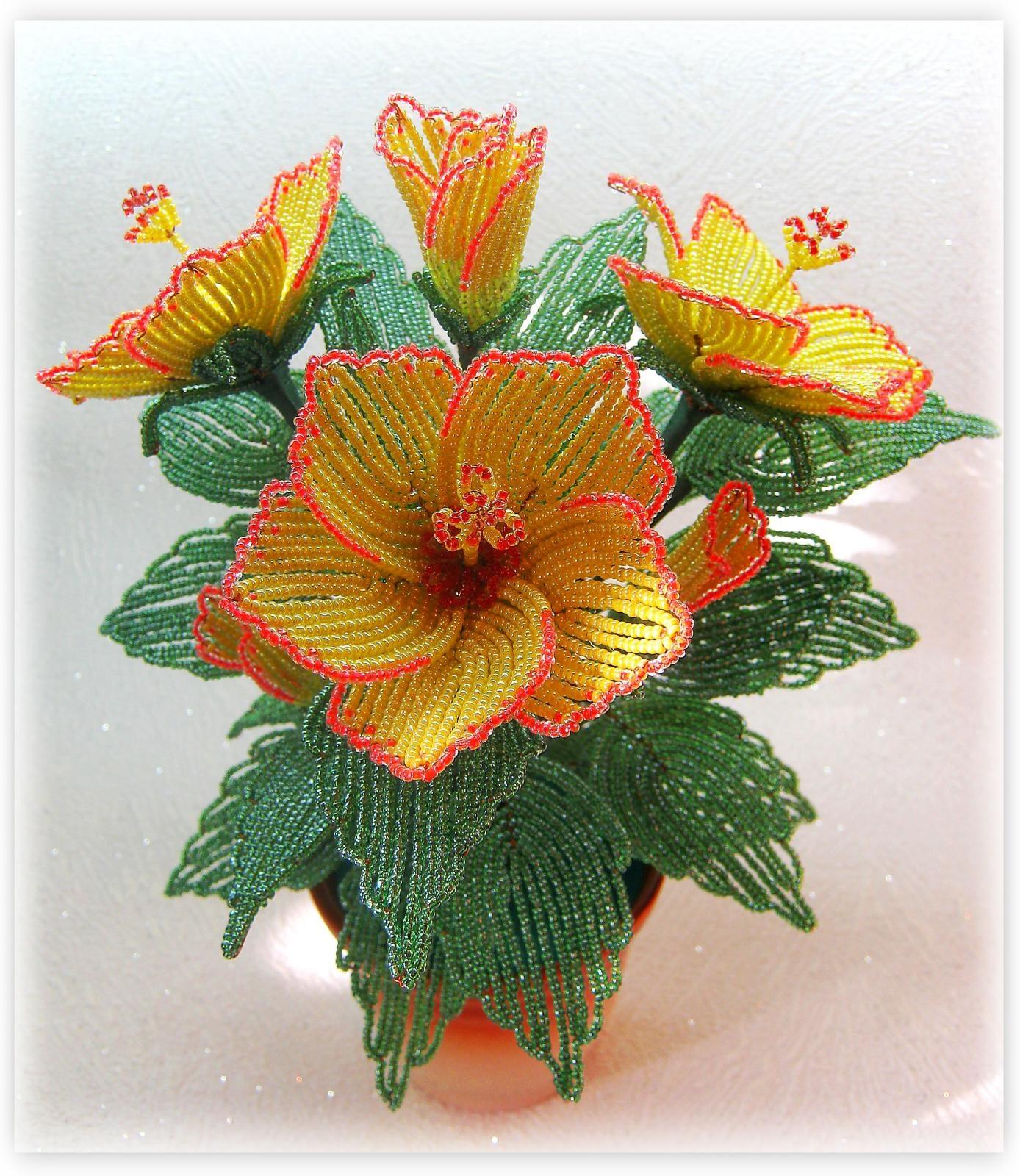 Бисероплетение цветы мастер класс с пошаговым гибискус