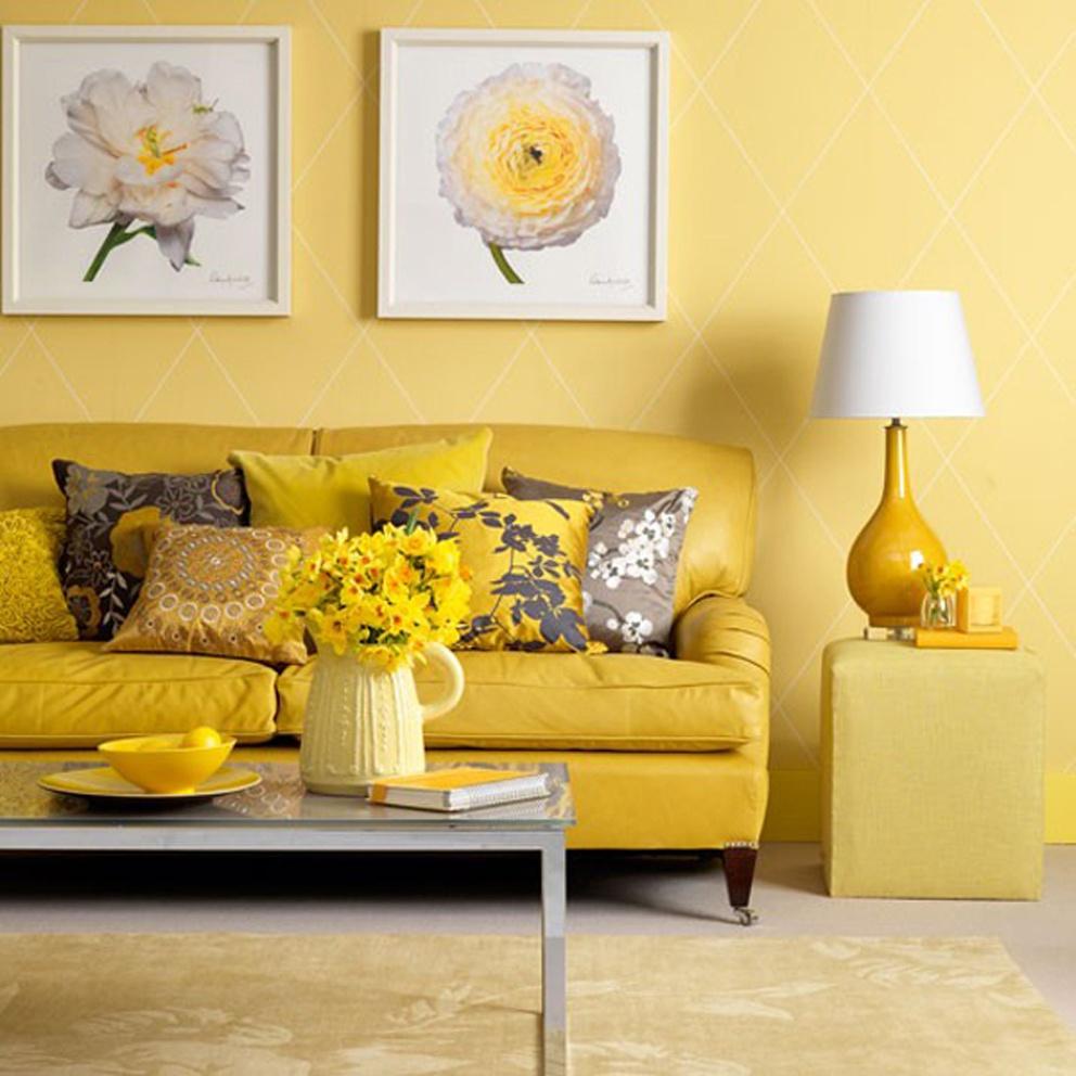 Лимонный диван в интерьере фото