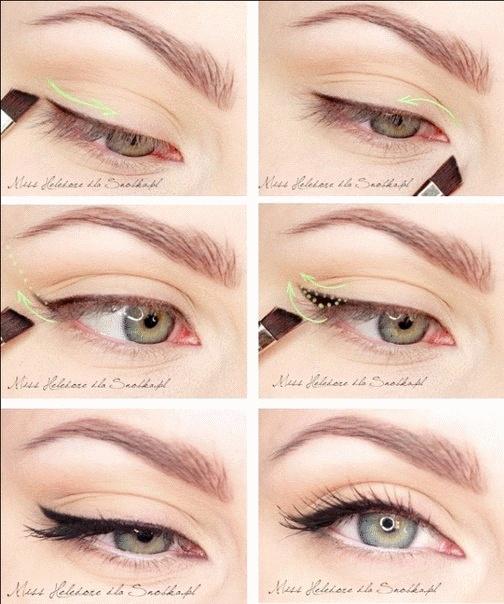 Как сделать стрелки на глазах карандашом поэтапно