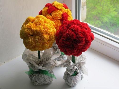 Красивые цветы из салфеток мастер класс