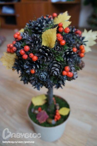 Поделки для детского сада на тему осень из шишек