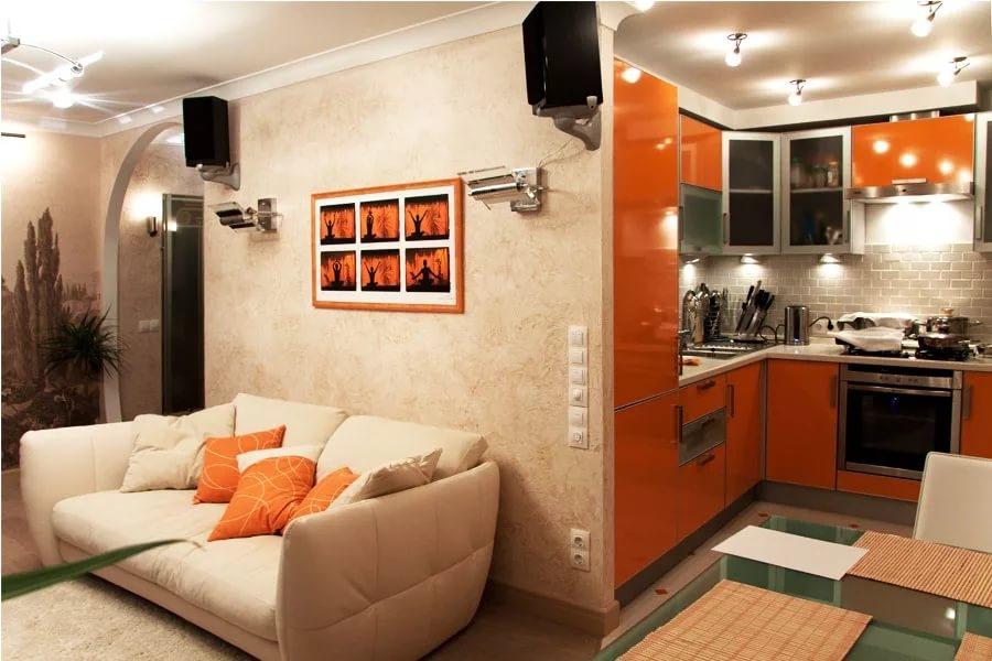Дизайн зала совмещенный с маленькой кухней фото