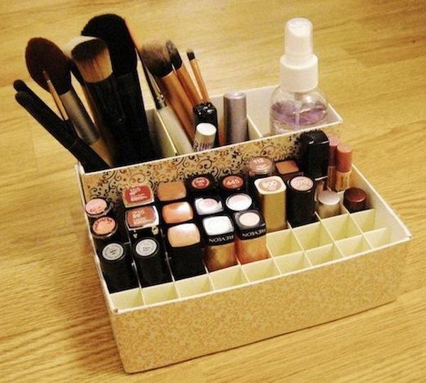 Как из коробки сделать органайзер для косметики