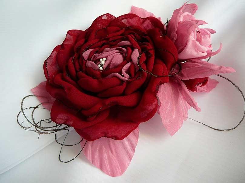 Цветок брошь своими руками из ткани