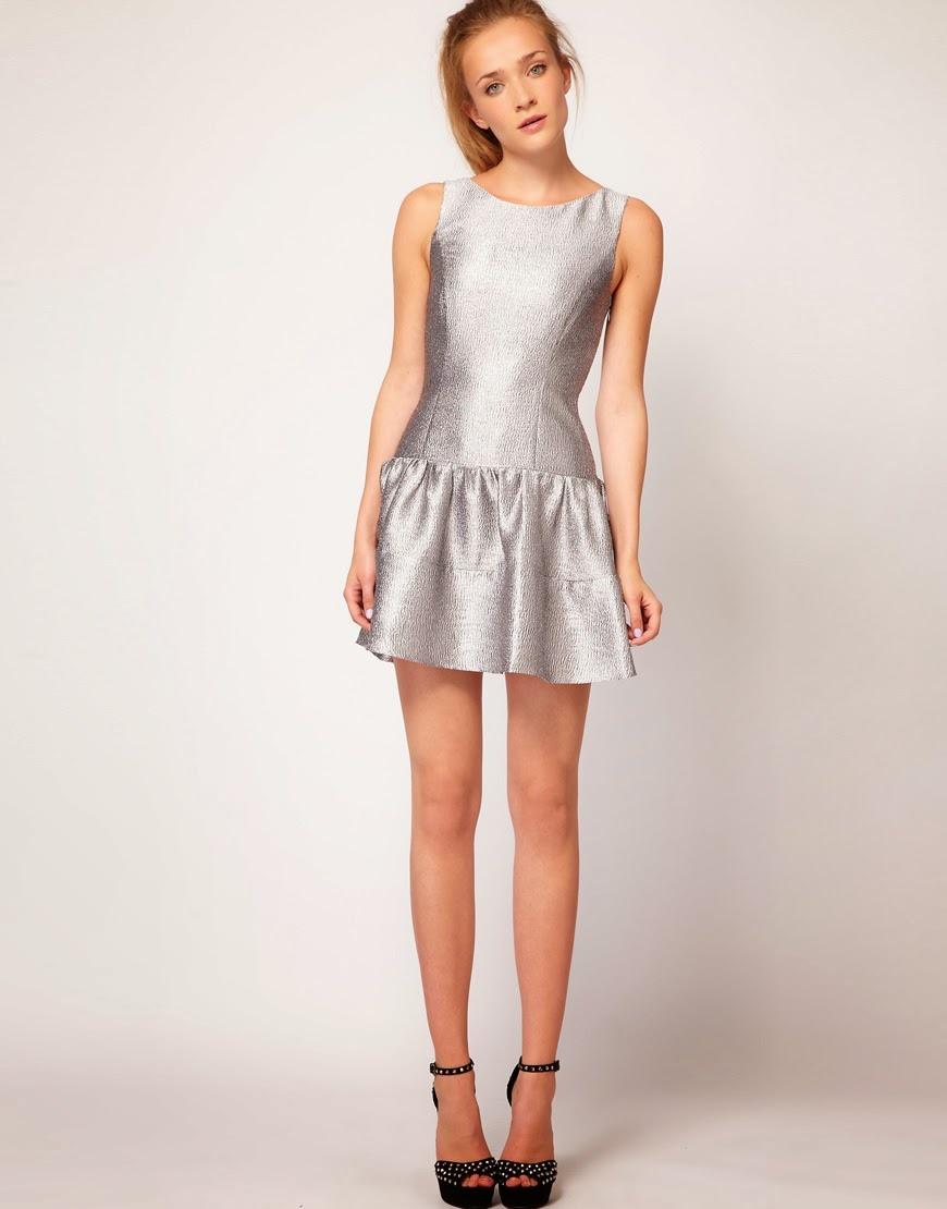Короткое серебристое платье