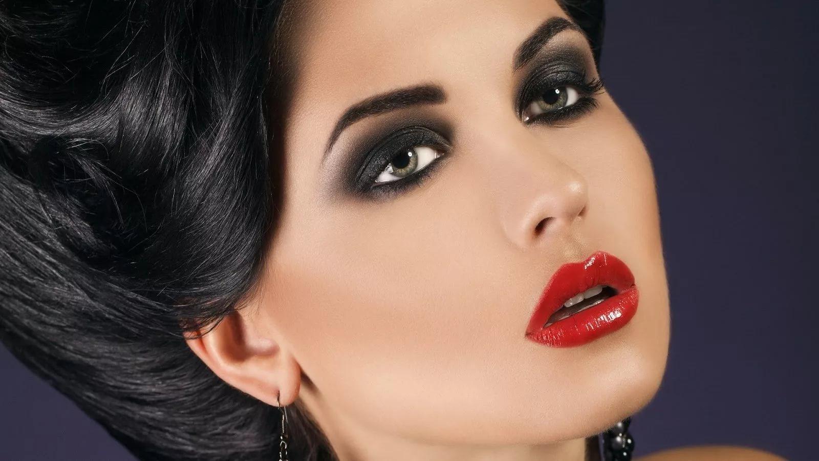 Фото макияж с красной помадой