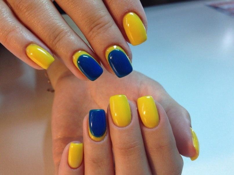 Сине желтый маникюр на короткие ногти