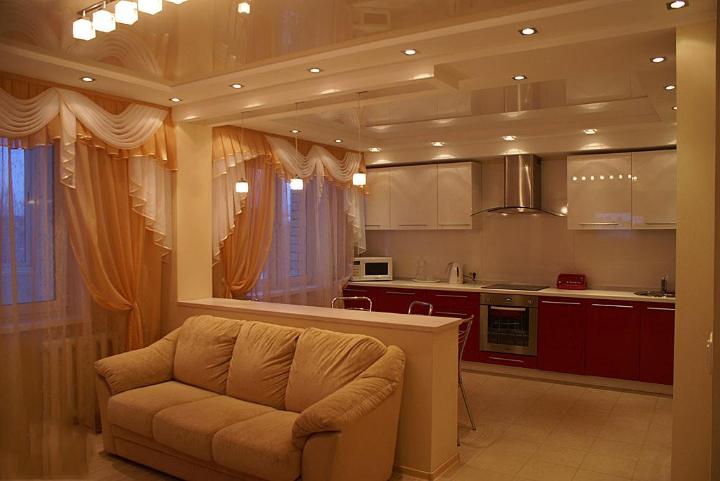 Фото ремонтов зал и кухня вместе