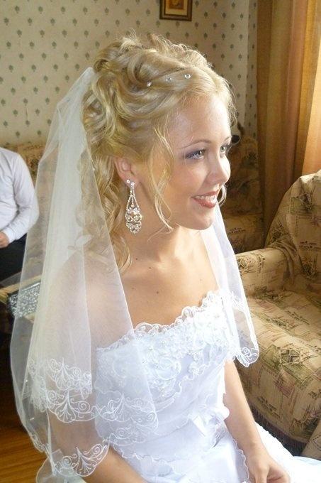 свадебные прически фото с фатой в астане