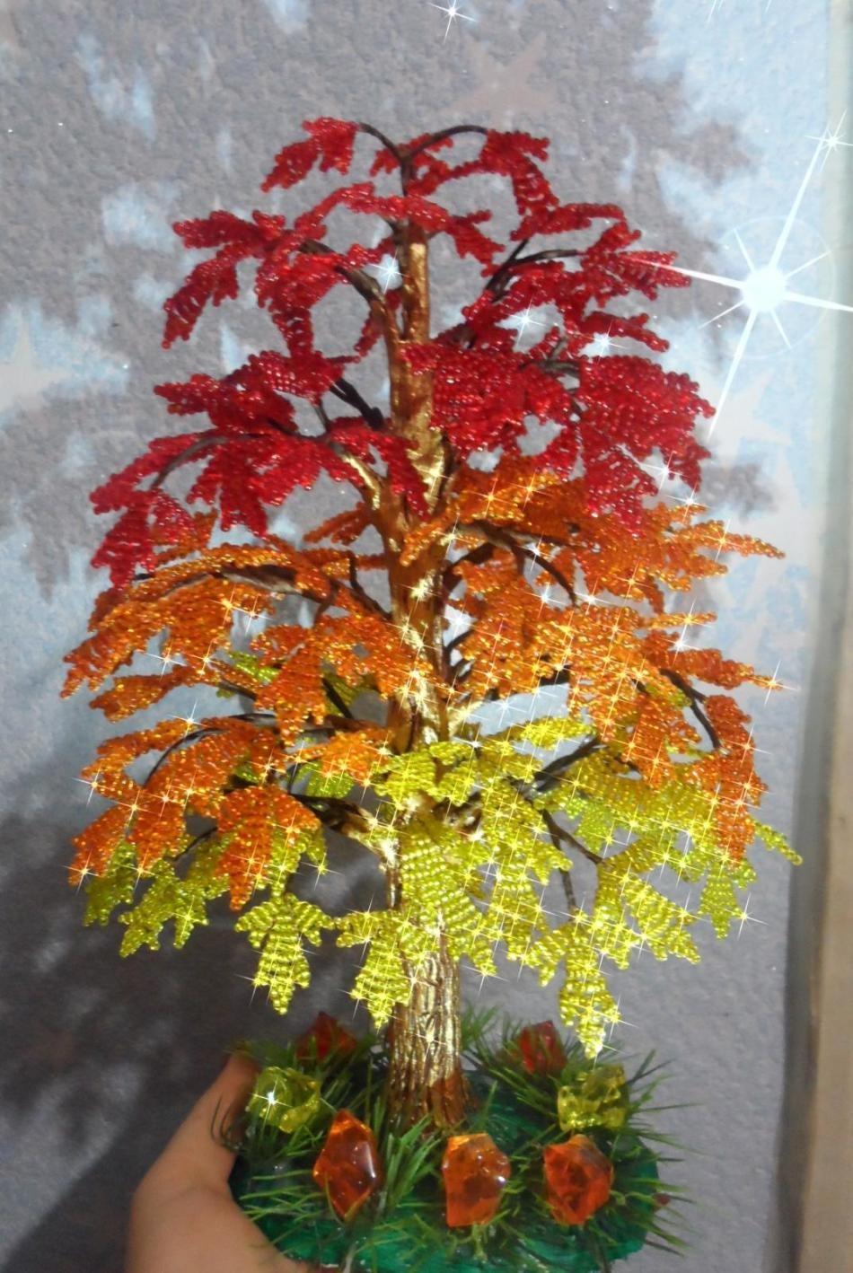 Клен дерево из бисера мастер класс с пошаговым фото для начинающих