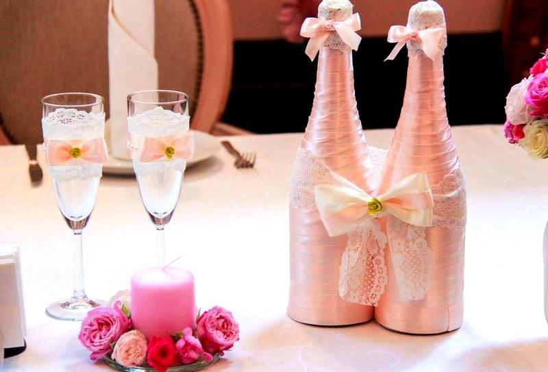 Как сделать украшения на шампанское на свадьбу
