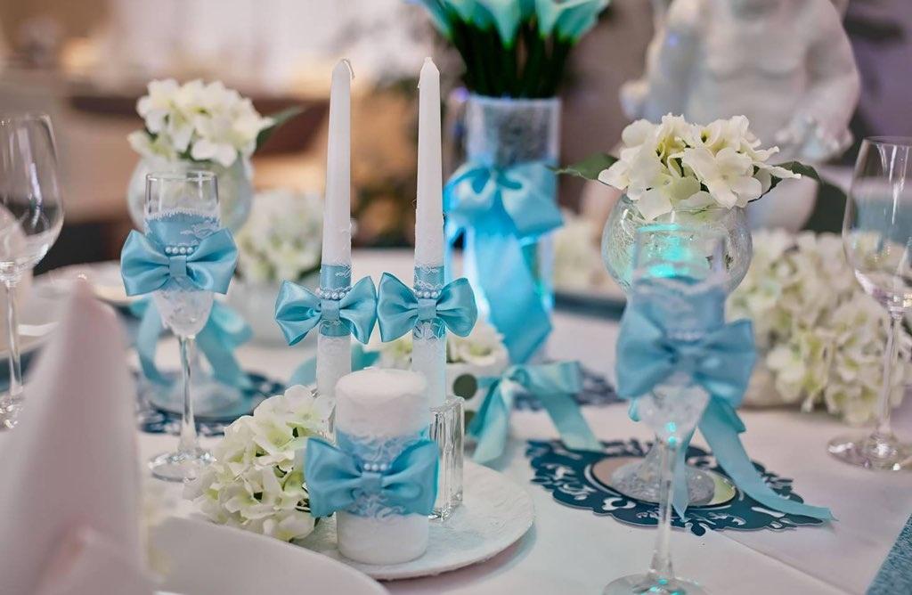 Идея для свадьбы в голубом цвете