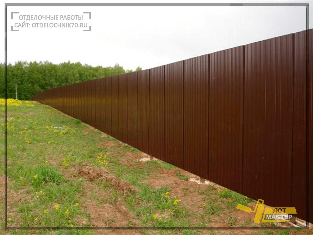 Установка металлопрофиля на забор