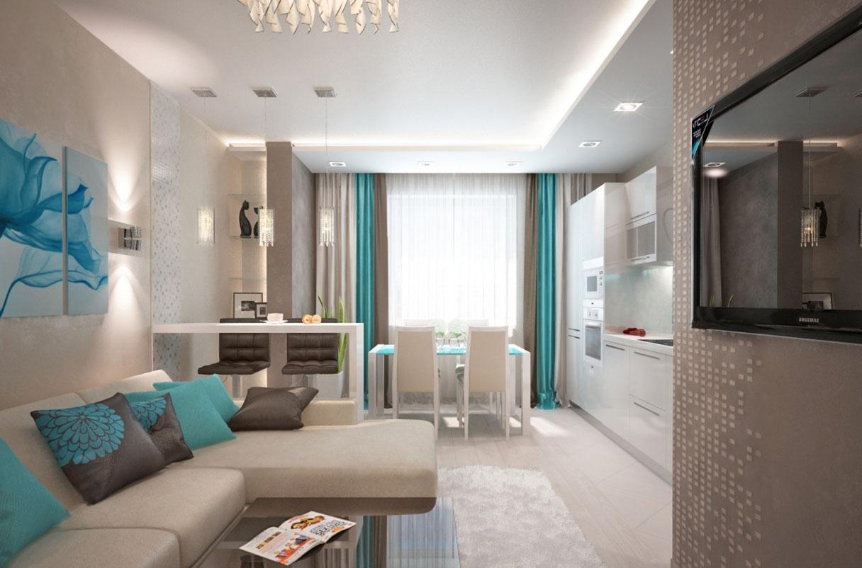 Дизайн интерьер кухни гостиной 18 кв.м