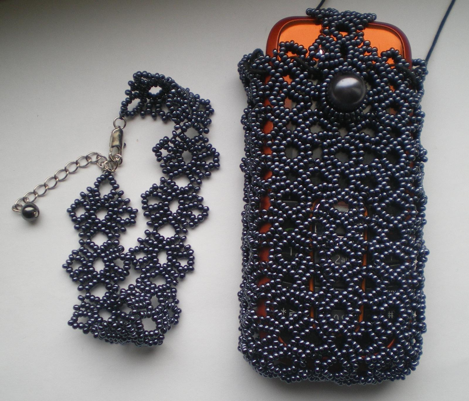 Вязание с бисером на телефон