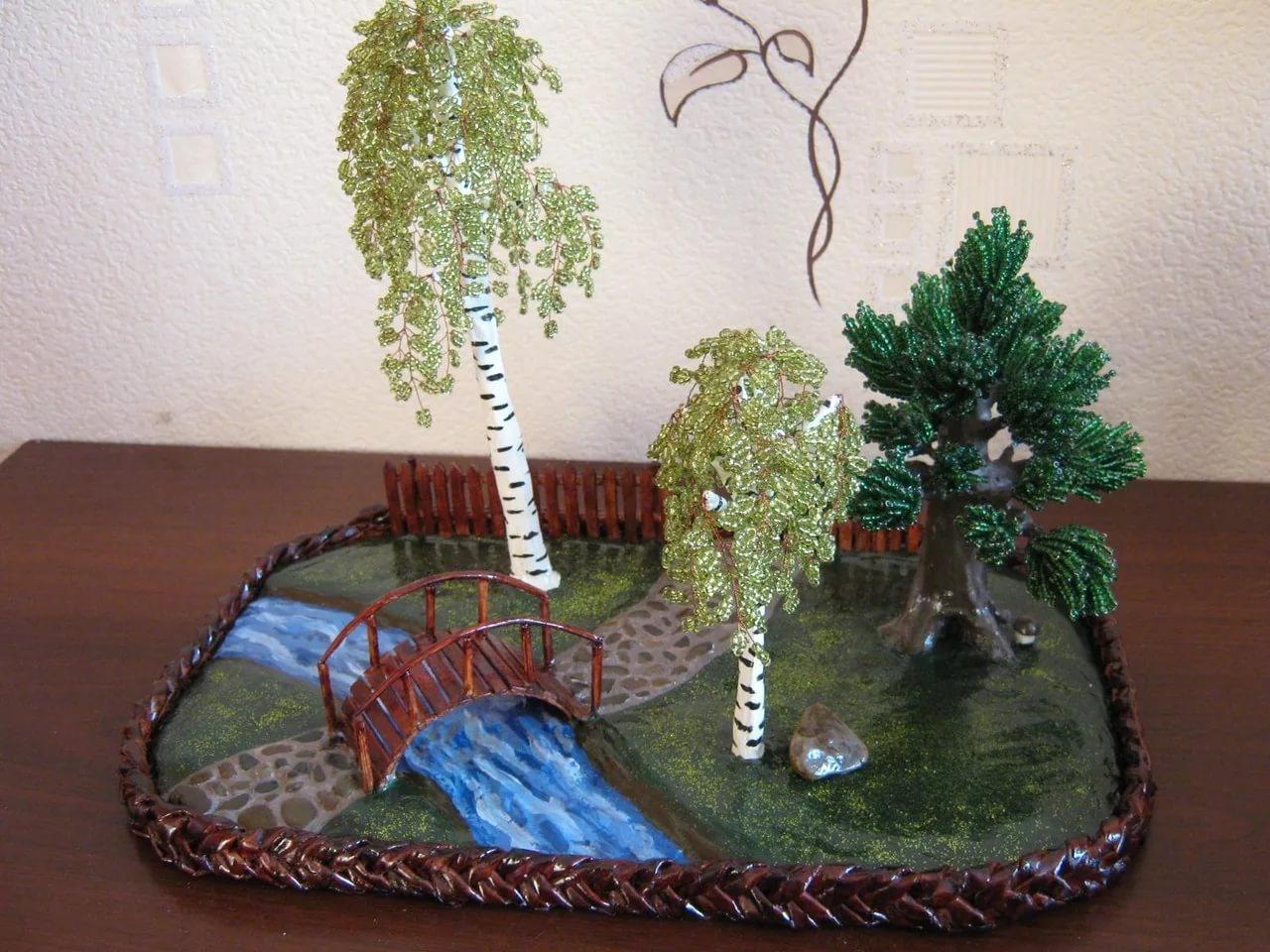 Бисероплетение композиции с деревьями