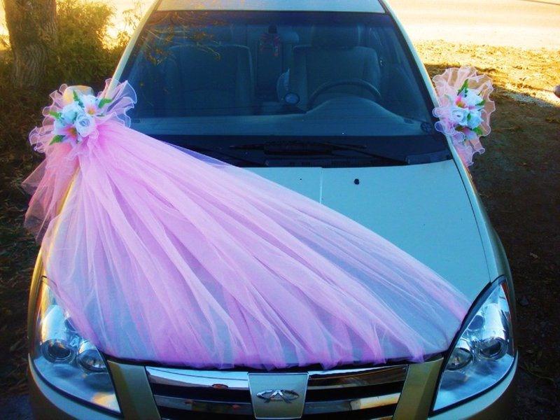 Как сшить украшение на свадебную машину из фатина