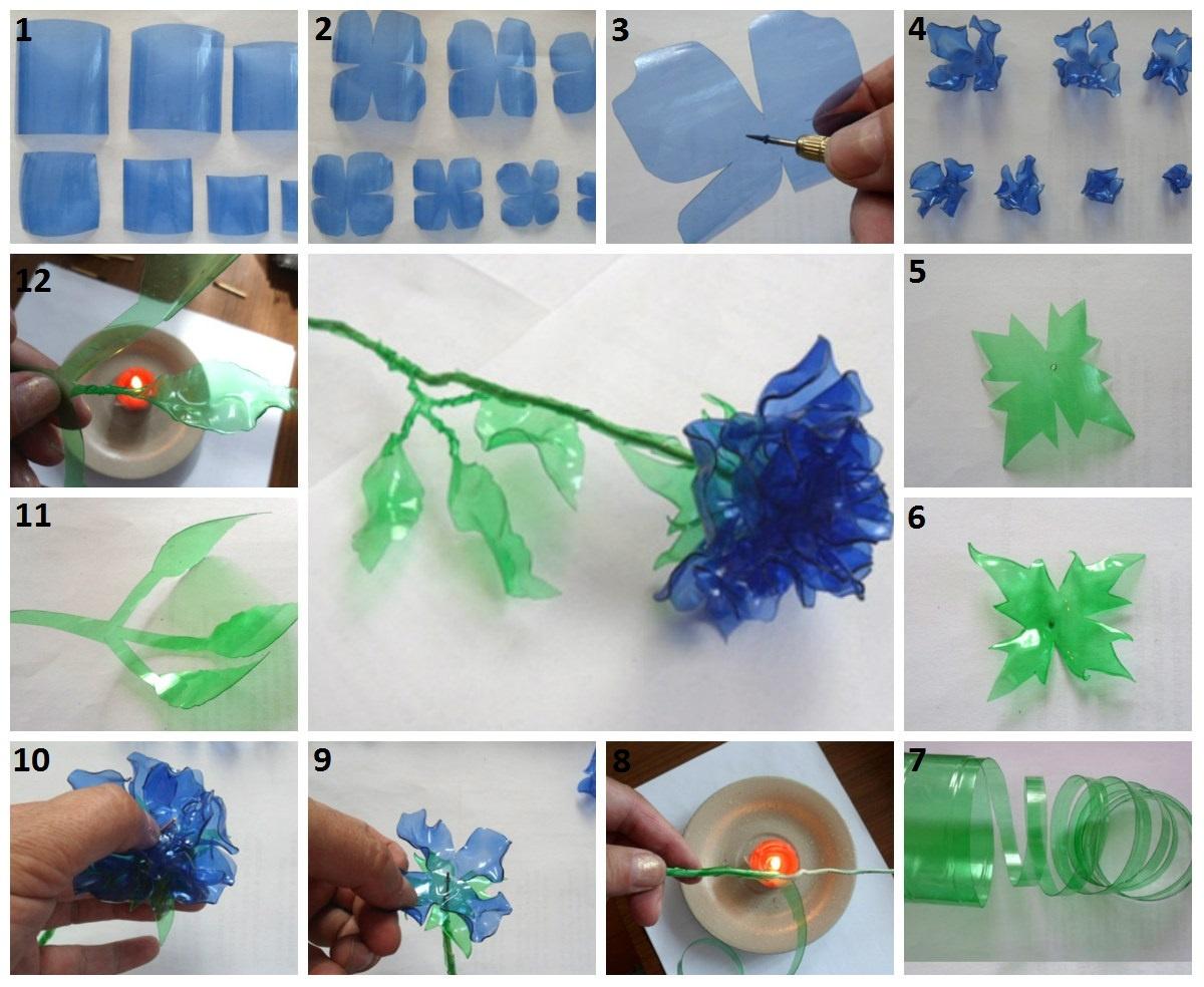 Как сделать цветы из пластиковых бутылок своими руками