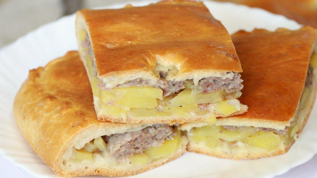Пирог мясной на кефире пошаговый рецепт с