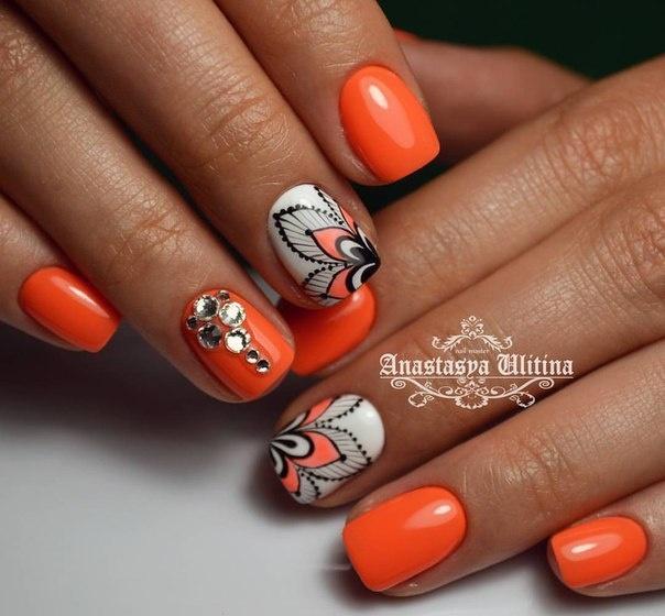 Дизайн ногтей 2017 новинки с оранжевым цветом