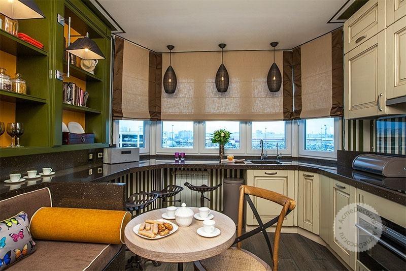 Дизайн кухни 10 кв.м с эркером
